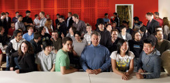 Paul Graham with some of the startups funded by Y Combinator