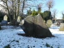 gravestone snow