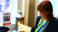 """Preparing to read my poems, """"Halo"""" and """"Long Light"""" at the ALLi/ACX party at The London Book Fair."""